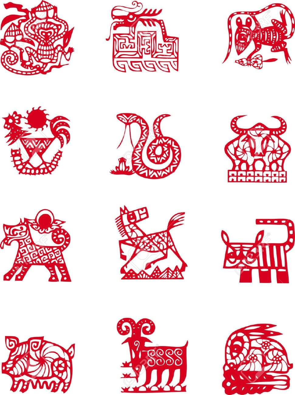 Red Chinese Zodiac Symbol Tattoo Design Chinese Zodiac Signs Zodiac Tattoos Astrology Tattoo