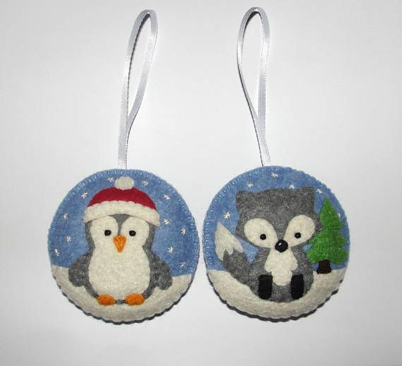 Wool Felt Christmas Tree Ornament Set of 2 Penguin Fox Felt
