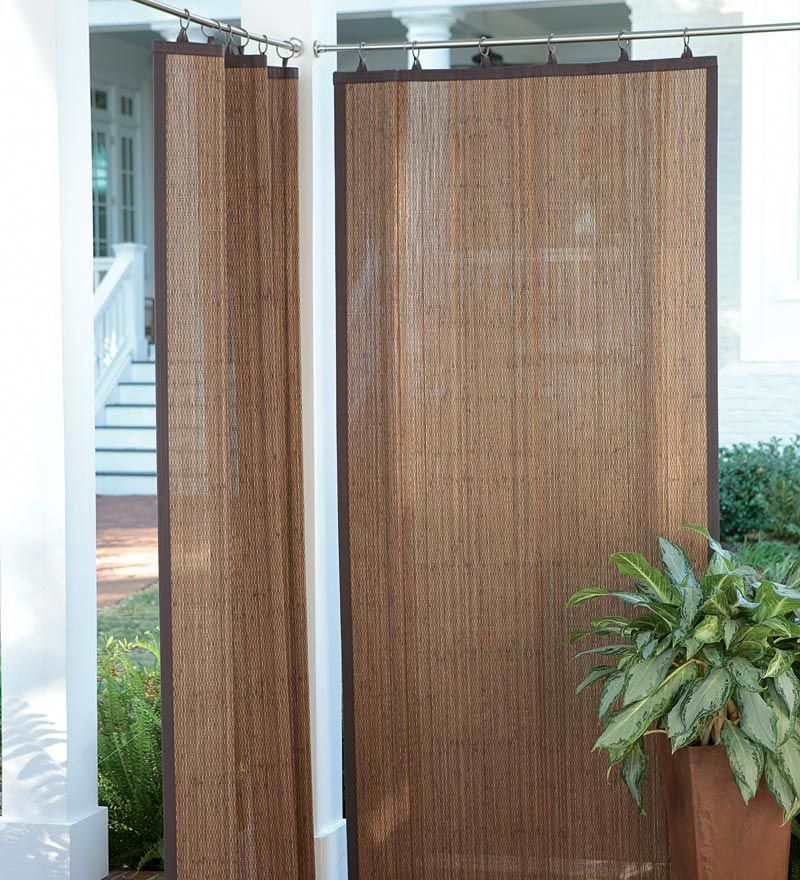 40 X 63 Weather Resistant Dark Brown Outdoor Bamboo Curtain Panel Pergolaideas