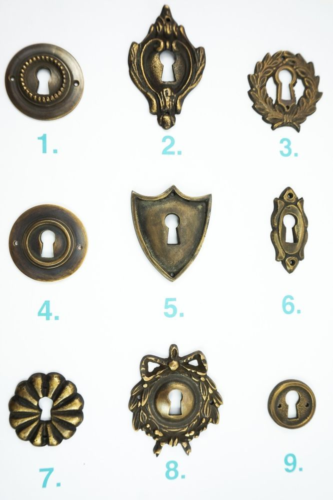 Incroyable Key Hole Cover Escutcheon Plate Vintage Antique Lock Door Cabinet Drawer