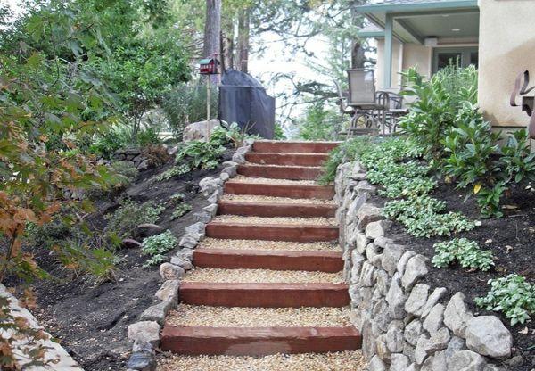 Landschaftsbau Garten Eingang Gartentreppe Holz | Gartenideen
