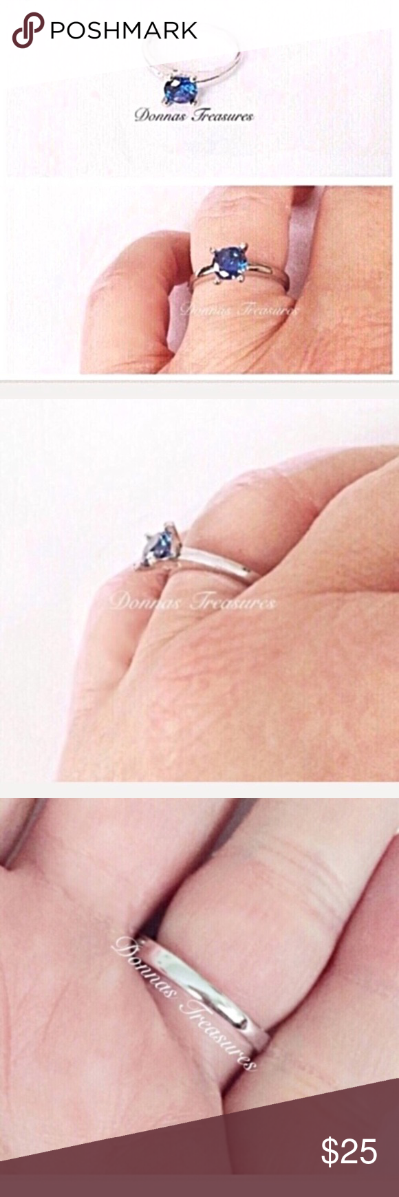 🎅🏻.25 Carat Blue Crystal Birthstone Ring | Blue crystals, White ...