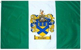 $49.99 Cooper Family Crest / Coat of Arms Flag. Large 3 ft. x 5 ft. polyester flags.