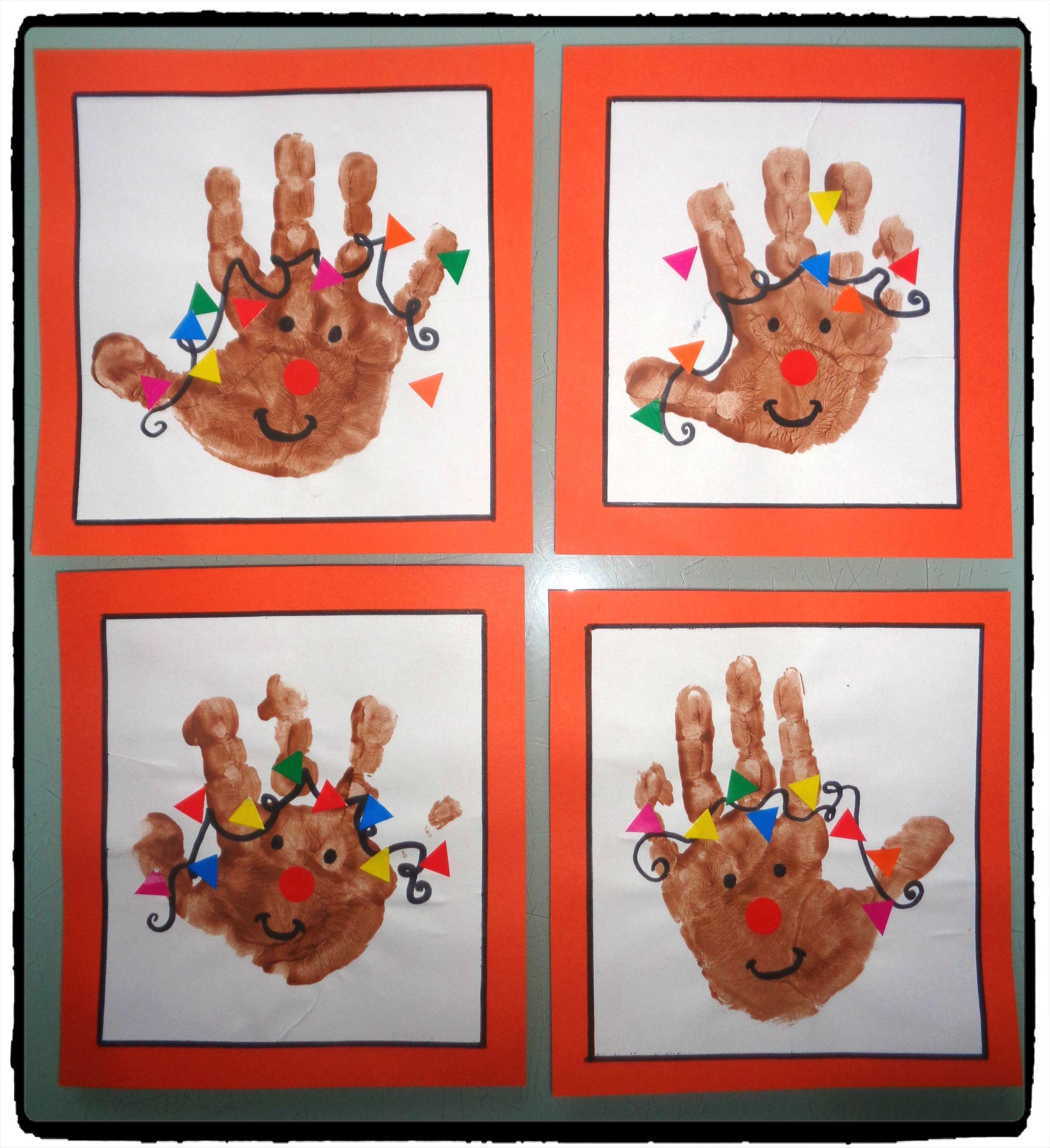 Souvent petit renne de noel en empreinte de main, bricolage noel enfant  VH59