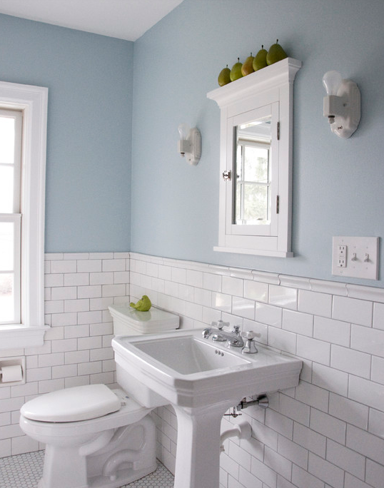 Delightful Bathroom Chair Rail Ideas Part - 7: Subway Tiles W/ Chair Rail Top. Bathroom ...