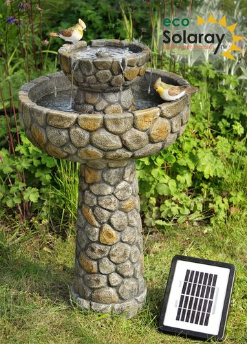 Awesome 68cm Cobbled Bird Bath And Solar Water Fountain By Solaray™