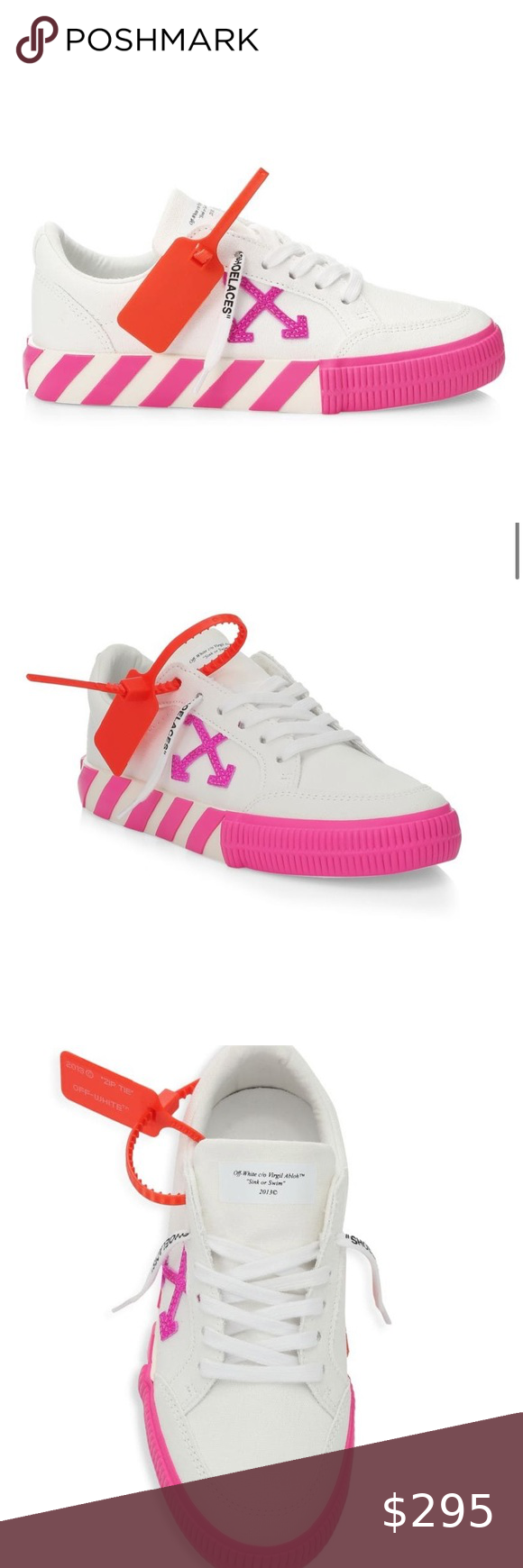 Off White Sneakers Neon Pink White Canvas And Orange Rubber New In Box Never Worn Includes Dust Bag S White Sneakers White Shoes Sneakers Off White Shoes