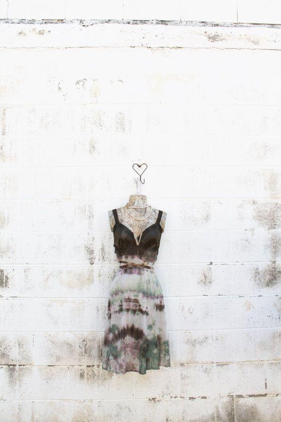 Medium Tie Dye dress/Ecru Rustic Wedding/Music by Lucysroom, $44.00