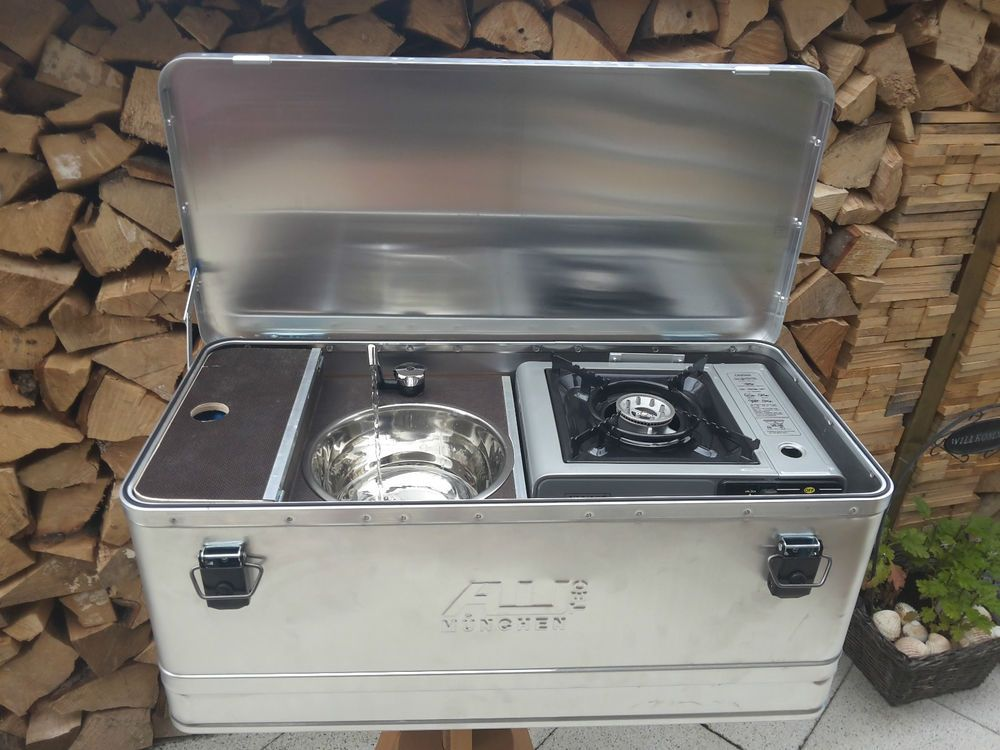Photo of Mobile Camping kitchen box, Caddy Tramper etc., outdoor kitchen, tent kitchen, alubo …