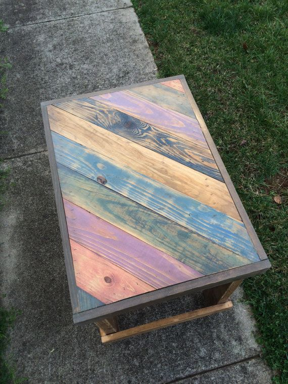 Etsy Ready To Ship Handmade Reclaimed Wood End Table Colorful