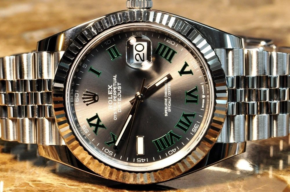 Rolex Datejust 41 slate dial green Roman numerals 126334