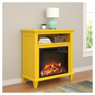 Ellington Accent Media Fireplace Yellow Ameriwood Home Media