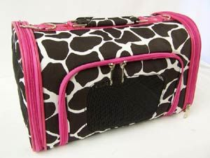 Pet Carrier Brown Giraffe With Pink Trim With Images Pet