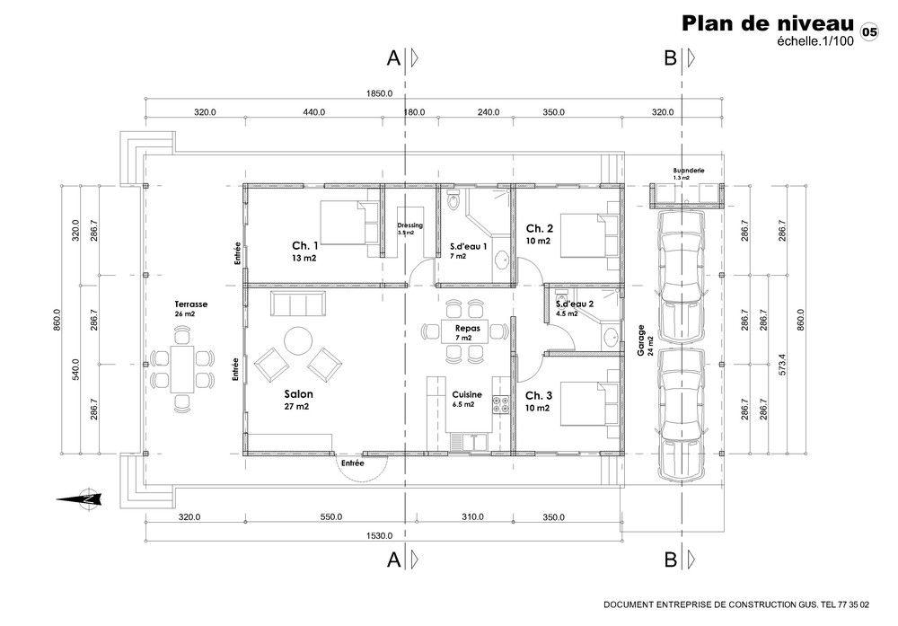 Plan De Maison F3 Avec Garage How To Plan Maison Floor Plans