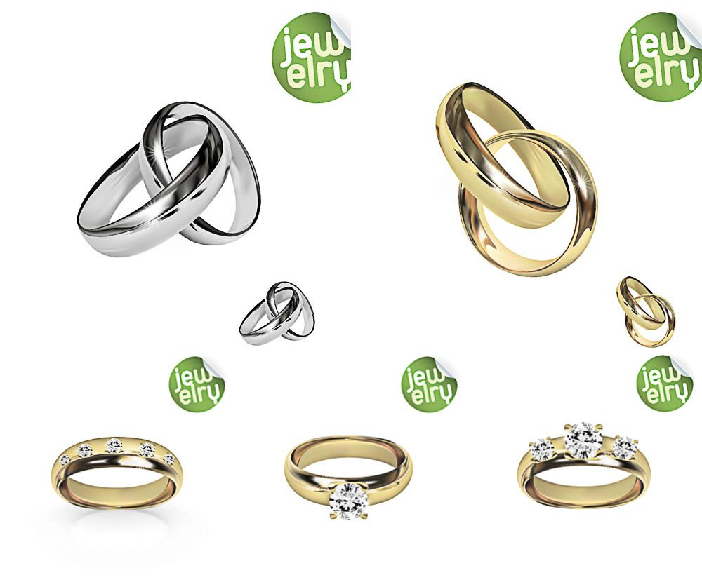 Gold and platinum wedding rings vector free for download and ready