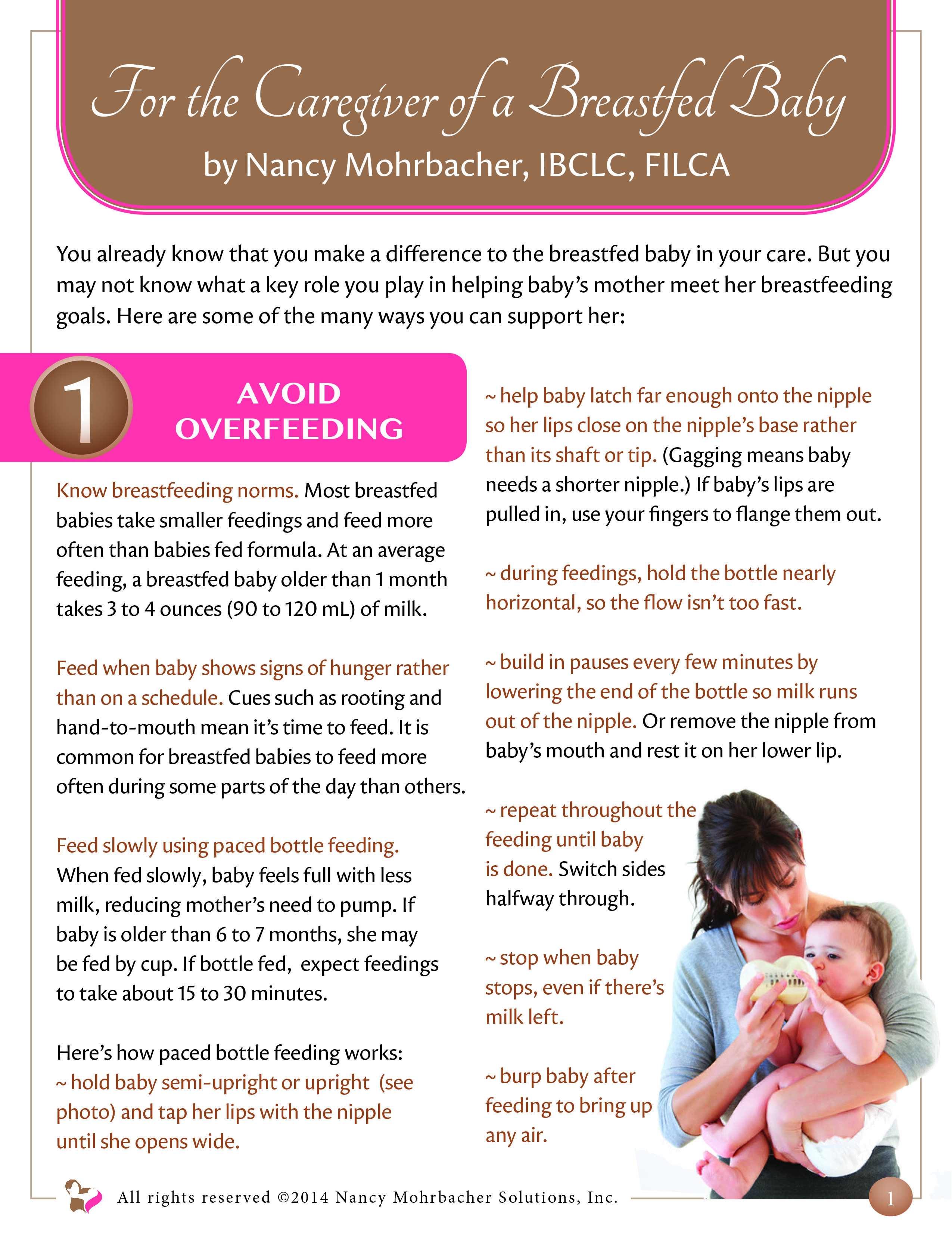 1st Page Of Revised Handout For The Caregiver Of A Breastfed Baby By