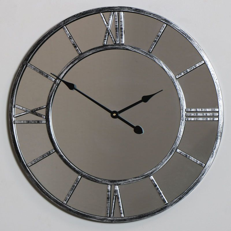 This Beautiful Mirrored Wall Clock Comes In A Large Size With A Skeleton Style Front And Roman Mirror Wall Clock Large Mirrored Wall Clock Skeleton Wall Clock
