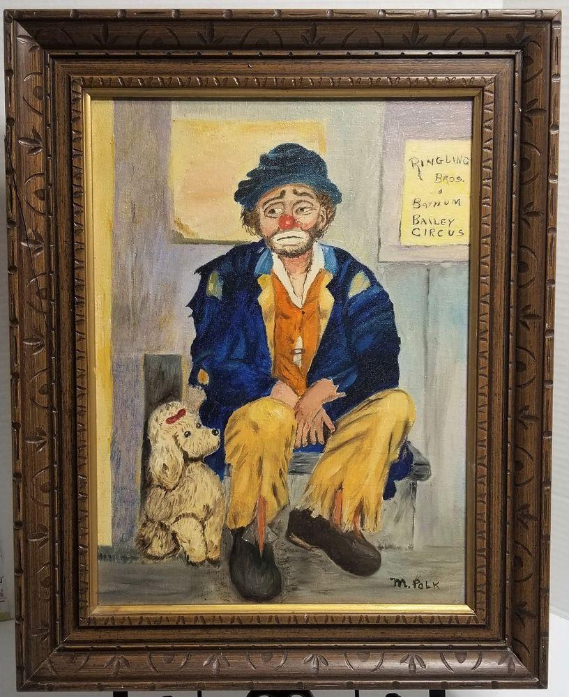 Ringling Bros & Barnum Bailey Circus Clown Poodle Oil