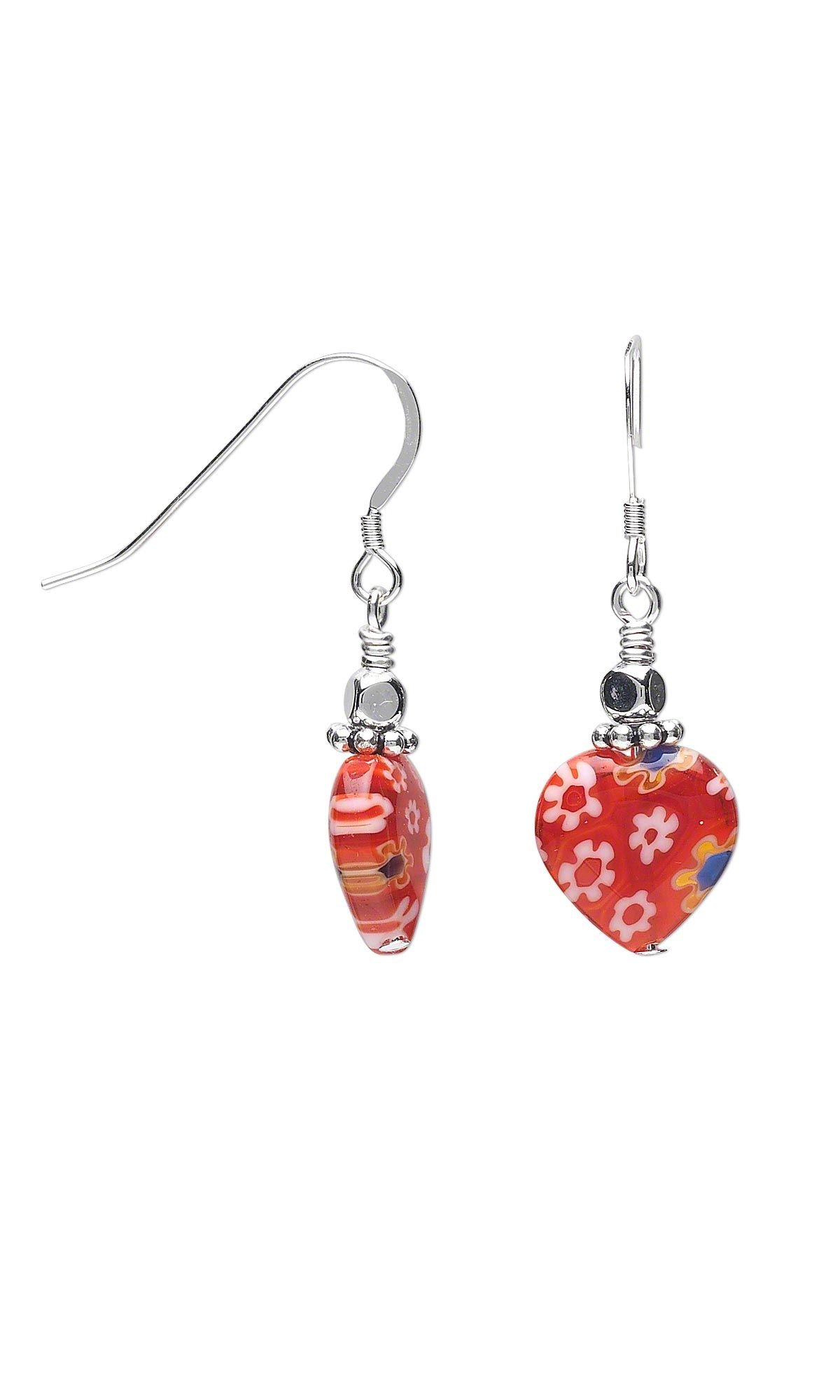 jewelry design earrings with millefiori glass beads and sterling