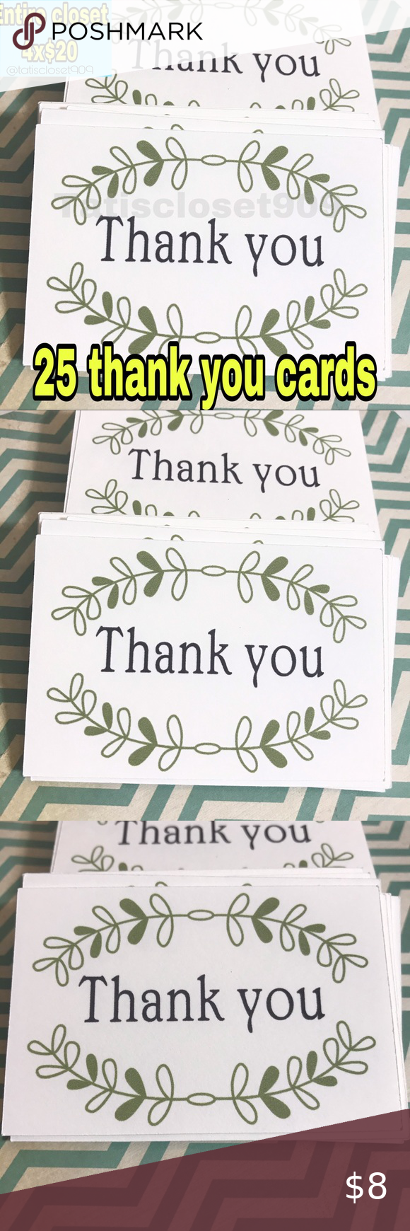 25 Thank You Cards 2 X3 Cardstock Thank You Cards Your Cards Birthday Treat Bags