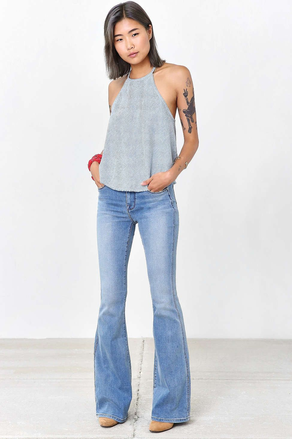 BDG Morrison High-Rise Flare Jean - Light Blue - Urban Outfitters d3f239848089