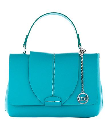 Loving this Turquoise Flap-Front Leather Satchel on #zulily! #zulilyfinds