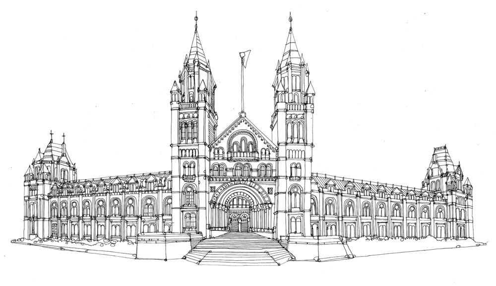 Line Art History : Line drawing of the natural history museum in london