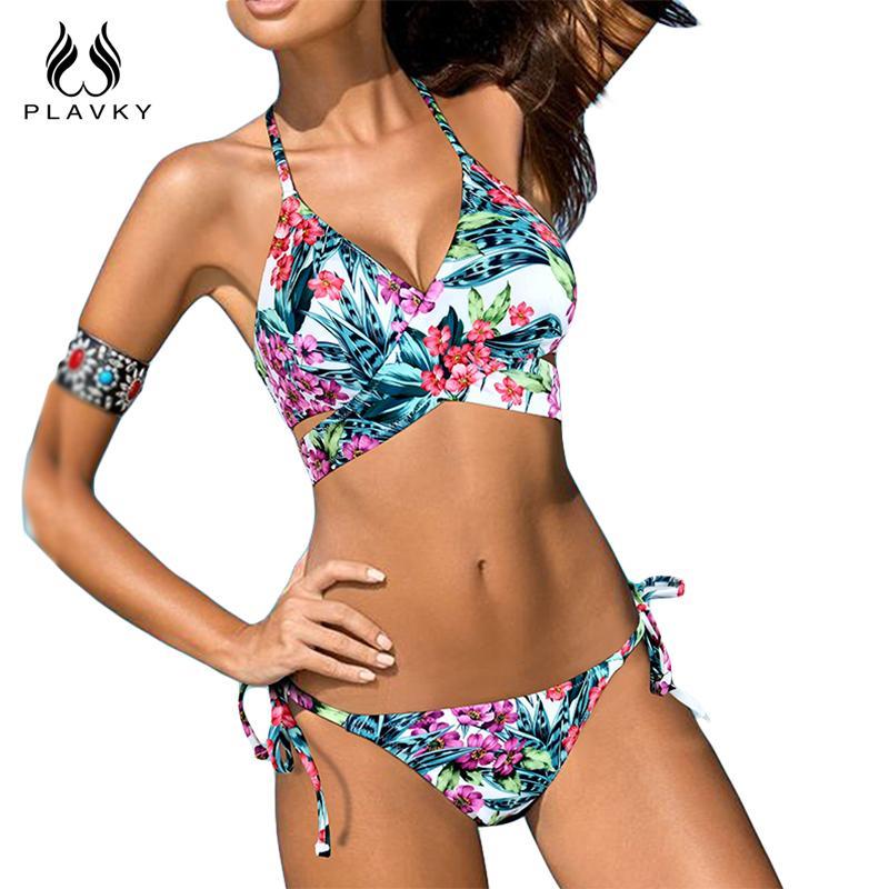 Brazilian Plus Size Swimwear Bathing Suit Floral Swimsuit Womens Bikini Halter