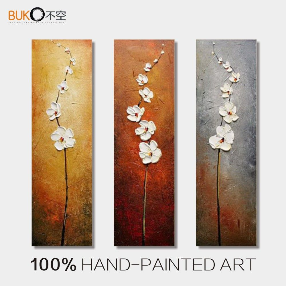100 Hand Painted 3 Panel Abstract Vertical White Flowers Oil Painting Canvas Decoration Picture W Floral Oil Paintings Canvas Art Wall Decor Modern Canvas Art