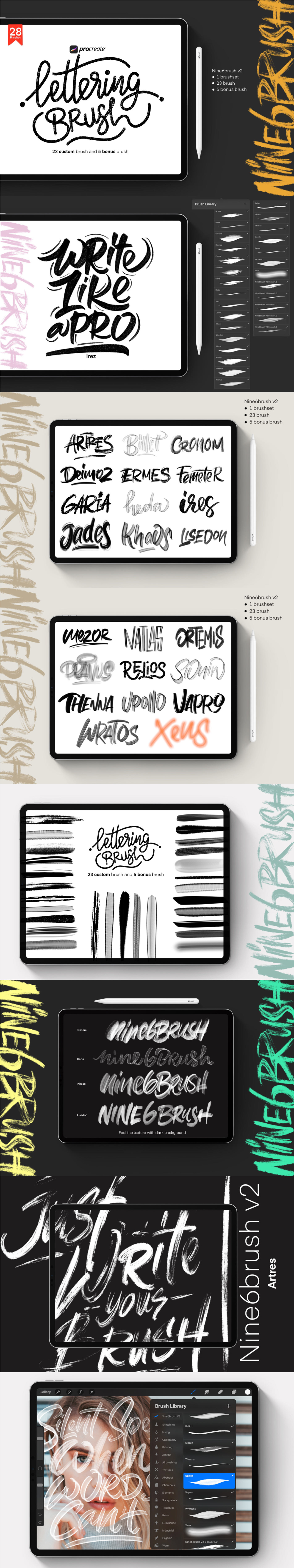 Download FREE PROCREATE LETTERING BRUSHES on Behance