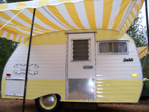 Vintage Camper Awning By Sew Country Awnings Yellow White Camper Awnings Vintage Camper Camper
