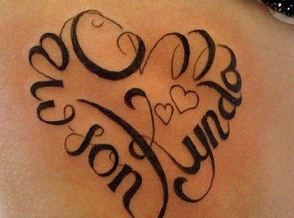 ddaaeb3b324c6 heart shaped tattoo | Tattoo obsession. | Tattoos with kids names ...