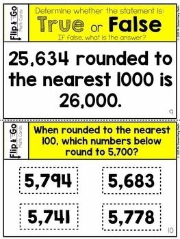 Rounding Task Cards 4th Grade Math Centers | Math centers ...