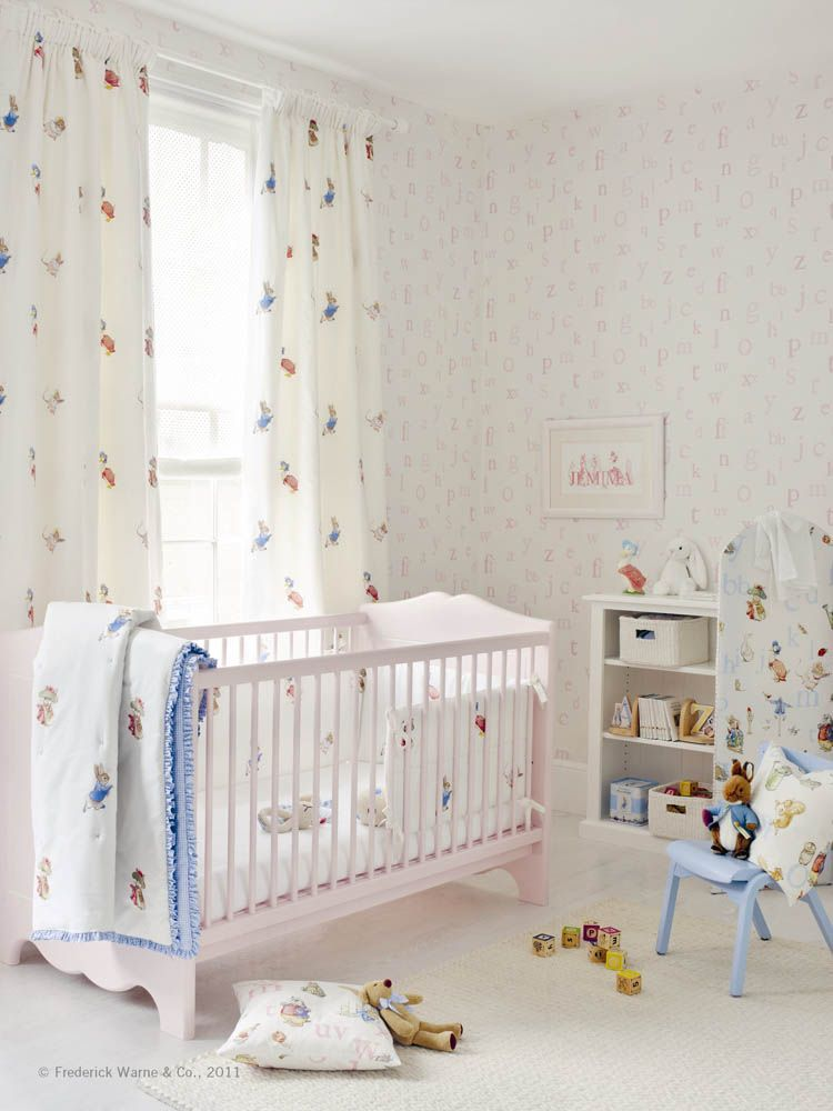 Jane Churchill S Alphabet Wallpaper Emb Beatrix Potter Blanket On Crib