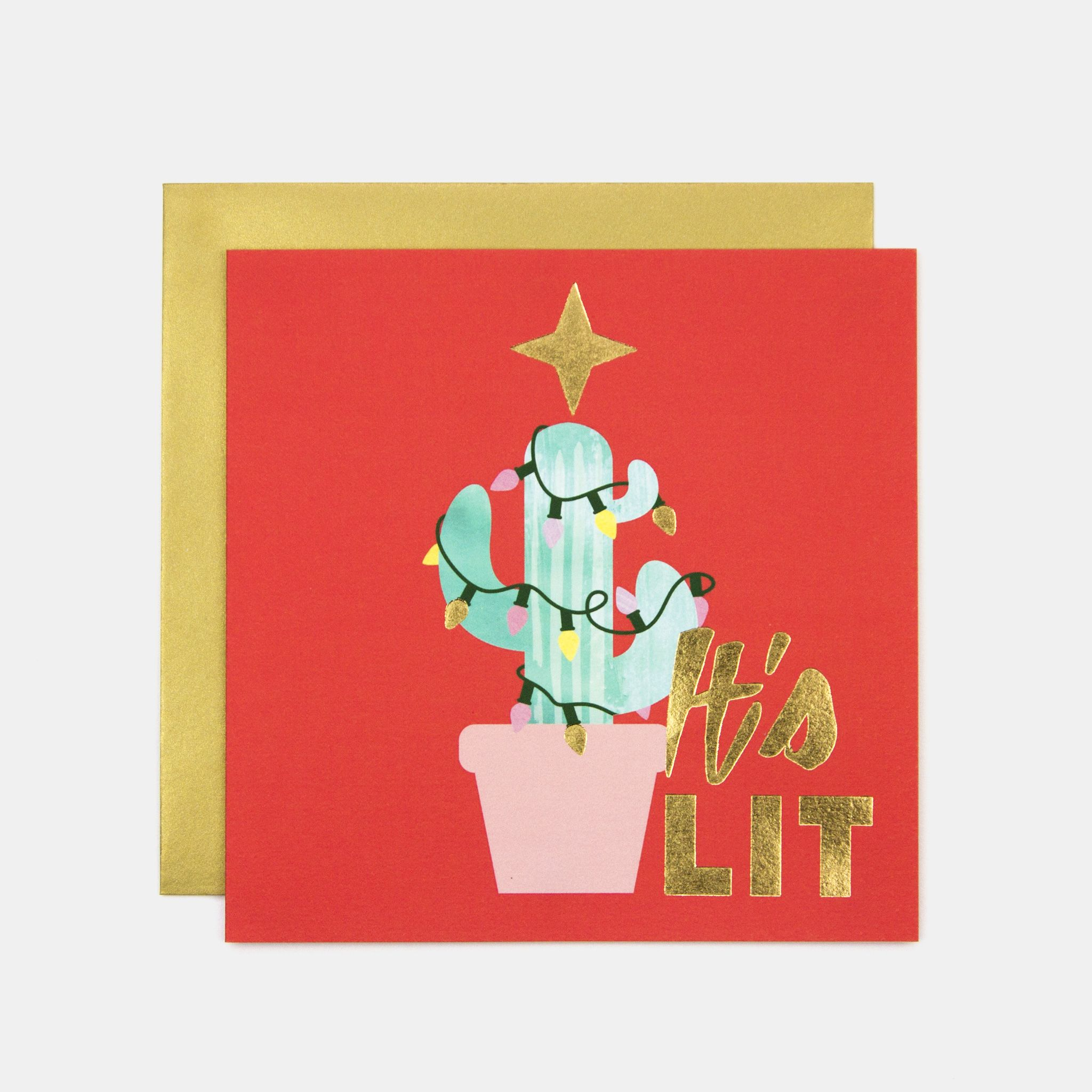 It's Lit Cactus Tree Christmas Greeting Card in 2020