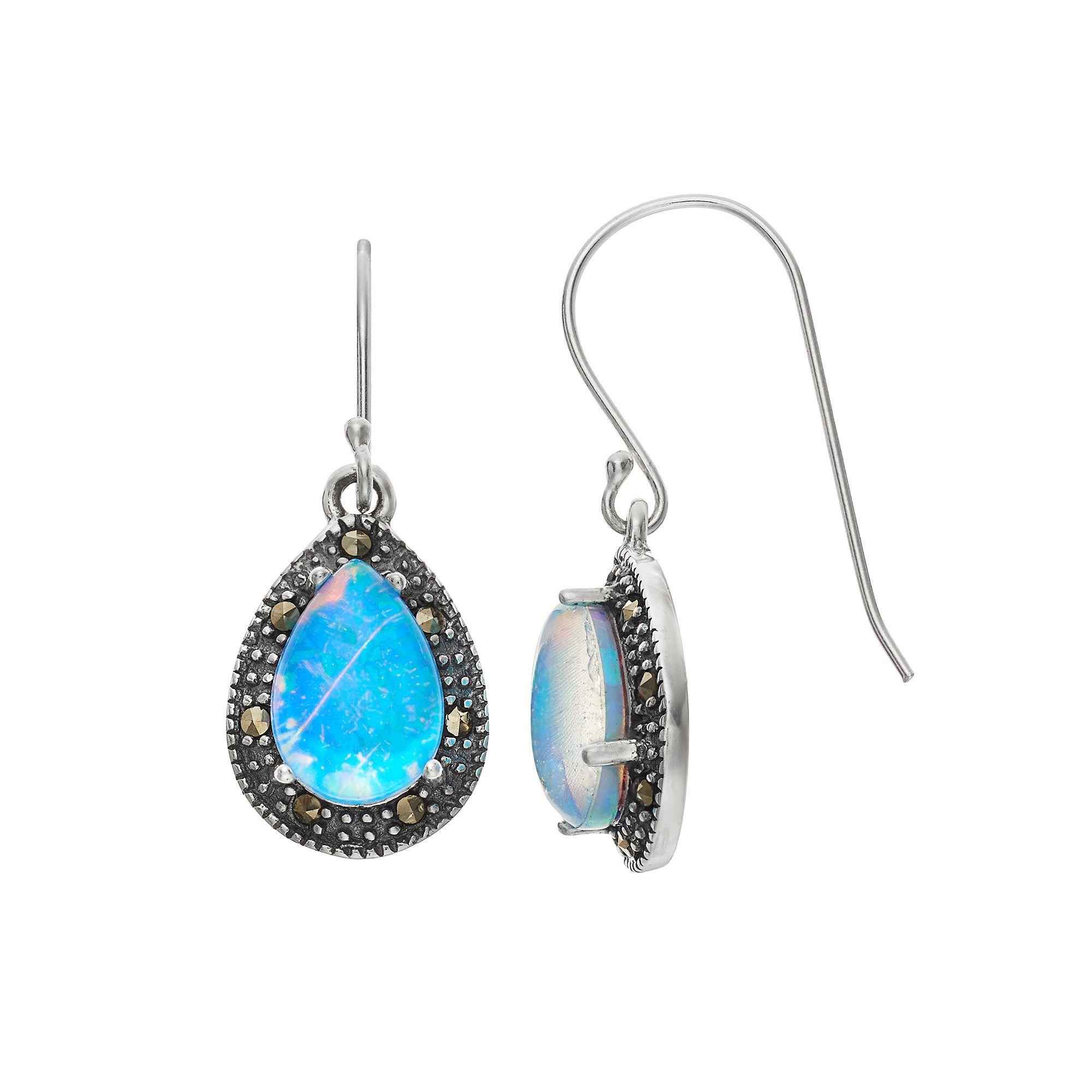 6e5418b4d Tori Hill Sterling Silver Simulated Blue Opal Doublet & Marcasite Teardrop  Earrings, Women's