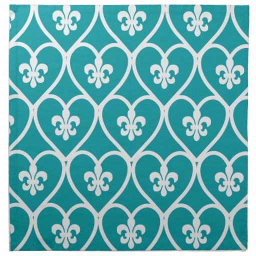 Turquoise Heart Fleur De Lis Napkins -- use to make accent pillows?