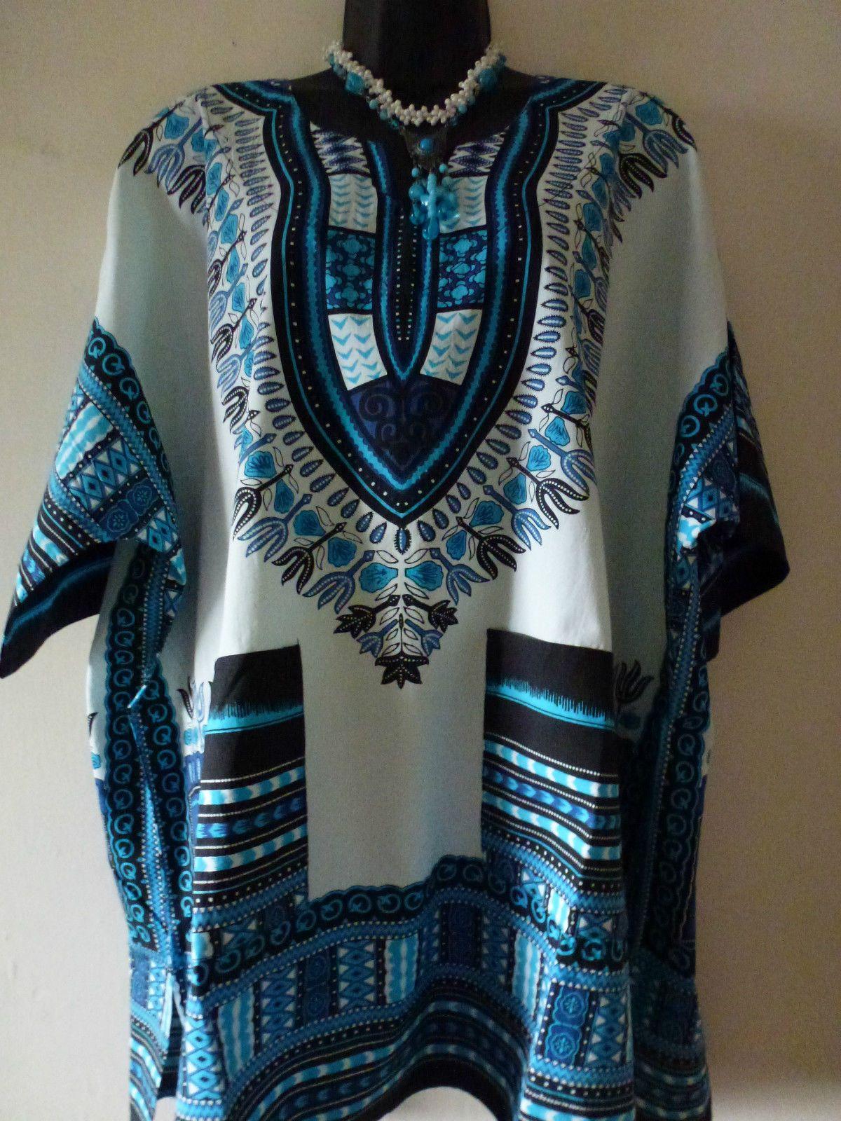 White pinafore apron ebay - Dashiki Shirt African Tribal Poncho Mexican Hippie Tribal White Multi Ebay 12