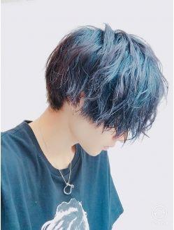 Cut3600円グランジミディアムネイビーハイライト ヘアスタイル ヘア