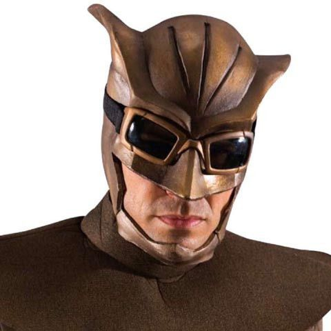 *Professionally sculpted *Bronze-toned deluxe latex mask that features awesome owl-like goggles *Cowl is latex not felt as shown
