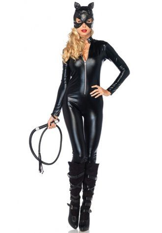 Blonde in sexy catwoman suit