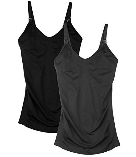 38962a45b6a Seamless Padded Nursing Tank Tops for Women Breastfeeding Maternity  Camisole Bra Pack of 2