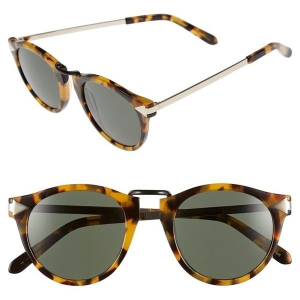 Women's Karen Walker 'Helter Skelter' 48Mm Retro Sunglasses (350 NZD) ❤ liked on Polyvore featuring accessories, eyewear, sunglasses, crazy tortoise, round tortoiseshell glasses, tortoise sunglasses, round lens glasses, tortoise shell sunglasses and retro glasses