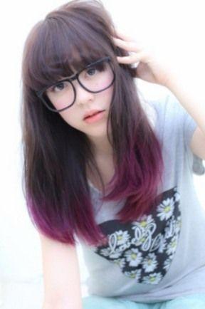 ヘアカラー 紫 グラデーション アッシュ グレー 黒 暗めの画像