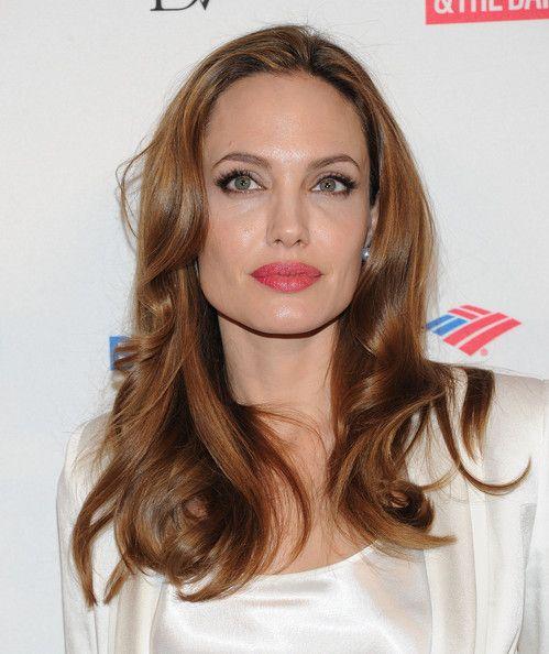 Angelina Jolie Pink Lipstick Brunette Color Brown Hair Colors Celebrity Hair Stylist