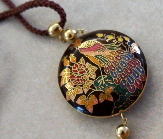 Vintage Necklace Cloisonne Enamel Pendant Peacock by CinfulOldies