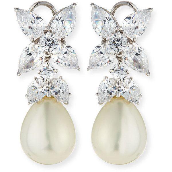 Fantasia 10mm Simulated Pearl & Cubic Zirconia Drop Earrings hdgAeDvU