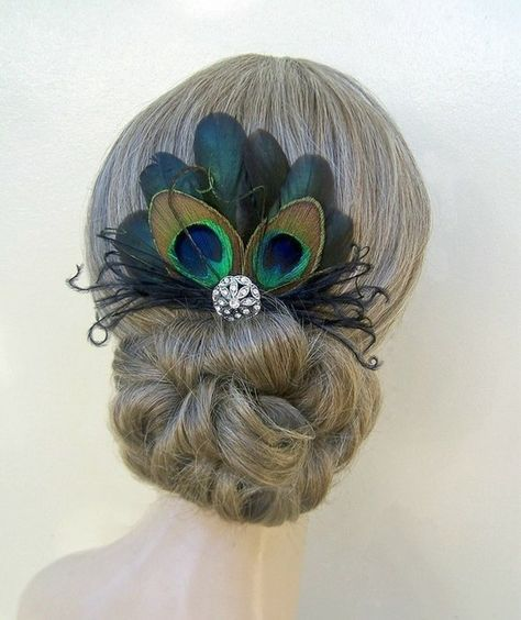 Peacock Feather Hairpin by delores