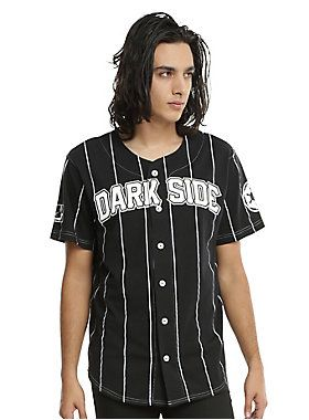 """<div>Rooting for team Dark Side? Show off your team spirit in this baseball jersey from<i> Star Wars</i>. The black and white striped button front jersey has """"Dark Side"""" text design across the chest, """"Vader 77"""" on back and and Empire symbol on the right sleeve and an image of Darth Vader on the left.</div><div><ul><li style=""""list-style-position: inside !important; list-style-type: disc !important"""">60% cotton; 40% polyester</li><li style=""""list-style-position: inside !important; list-sty..."""