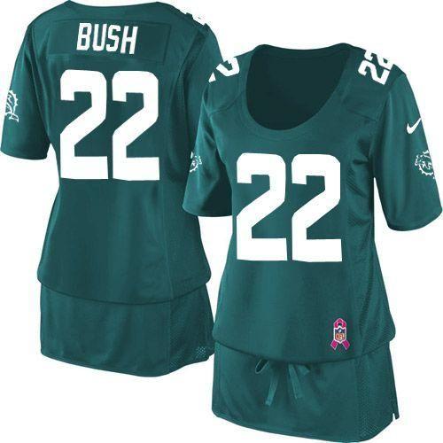 662f48710 Nike Dolphins  22 Reggie Bush Aqua Green Team Color Women s Breast Cancer  Awareness Embroidered NFL